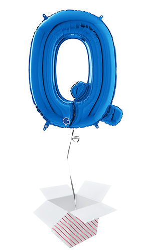 Blue Letter Q Helium Foil Giant Balloon - Inflated Balloon in a Box Product Image