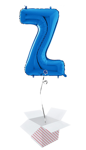Blue Letter Z Helium Foil Giant Balloon - Inflated Balloon in a Box Product Image