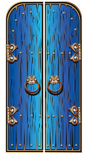 Blue Magical Double Doors Lifesize Cardboard Cutout 191cm Product Image