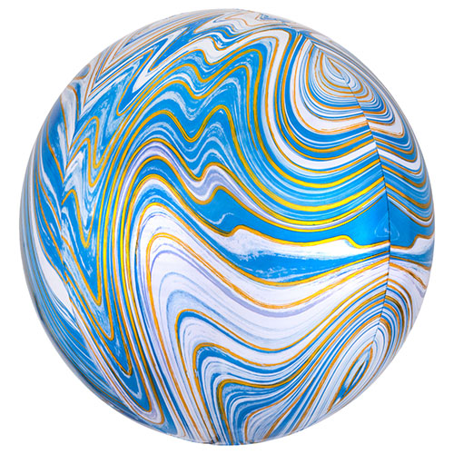 Blue Marblez Orbz Foil Helium Balloon 38cm / 15 in Product Image