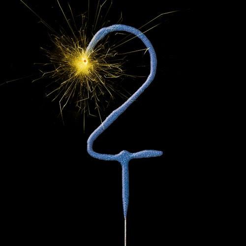 Blue Number 2 Non Hand Held Sparkler 17cm