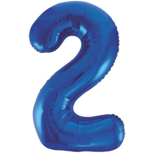 Blue Number 2 Helium Foil Giant Balloon 86cm / 34 in Bundle Product Image