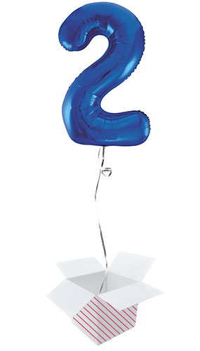 Blue Number 2 Helium Foil Giant Balloon - Inflated Balloon in a Box Product Image