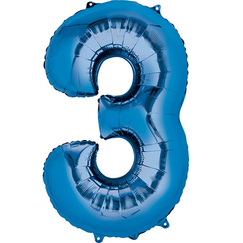 Blue Number 3 Air Fill Foil Balloon 40cm / 16 in Product Image