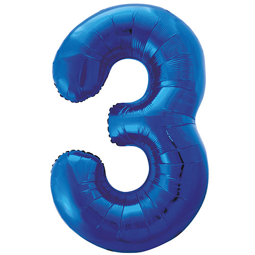 Blue Number 3 Helium Foil Giant Balloon 86cm / 34 in Product Image
