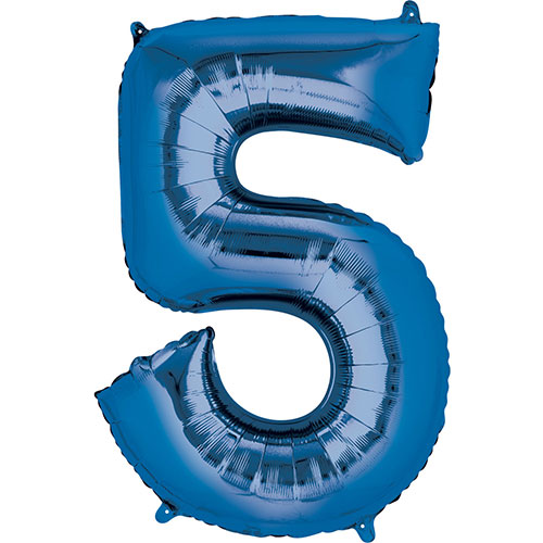 Blue Number 5 Air Fill Foil Balloon 40cm / 16 in Product Image