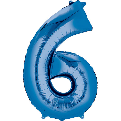 Blue Number 6 Air Fill Foil Balloon 40cm / 16 in Product Image