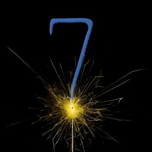 Blue Number 7 Non Hand Held Sparkler 17cm Product Image