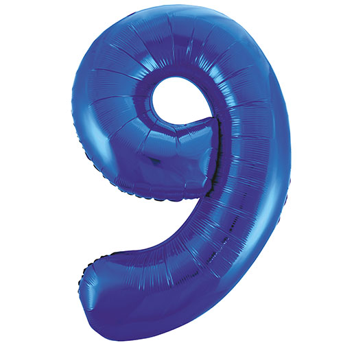 Blue Number 9 Helium Foil Giant Balloon 86cm / 34 in Product Image