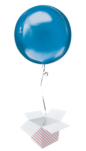 Blue Orbz Foil Helium Balloon - Inflated Balloon in a Box Product Image