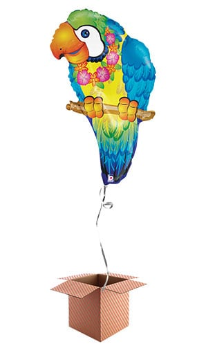Blue Paradise Tropical Parrot Helium Foil Giant Balloon - Inflated Balloon in a Box Product Image