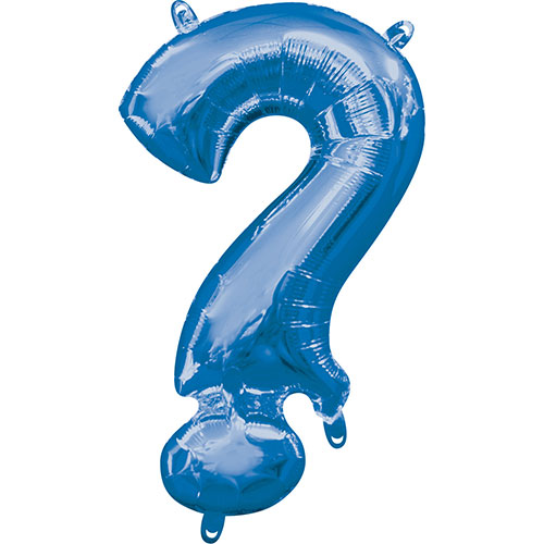 Blue Question Mark Symbol Air-Filled Foil Balloon 40cm / 16Inch Product Image