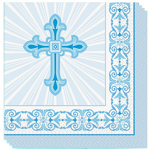 Blue Radiant Cross Communion And Confirmation Luncheon Napkins 33cm 2Ply - Pack of 16