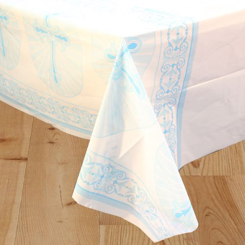Blue Radiant Cross Communion And Confirmation Plastic Tablecover 213cm x 137cm Product Image