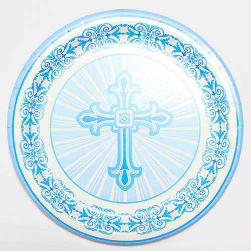Blue Radiant Cross Communion And Confirmation Round Paper Plates 22cm - Pack of 8