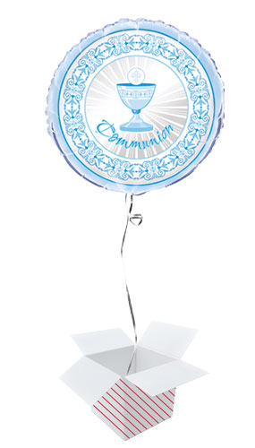 Blue Radiant Cross Communion Round Foil Helium Balloon - Inflated Balloon in a Box