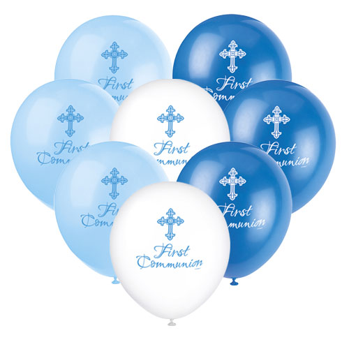 Blue Radiant Cross First Communion Assorted Biodegradable Latex Balloons 30cm / 12Inch - Pack of 8 Product Image