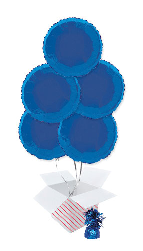 Blue Round Foil Helium Balloon Bouquet - 5 Inflated Balloons In A Box Product Image
