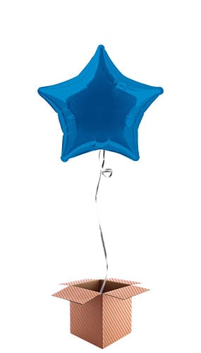 Blue Star Shape Foil Balloon - Inflated Balloon in a Box Product Image