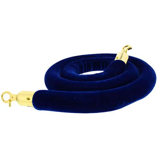 Blue Velvet Rope with Brass Hooks Product Image