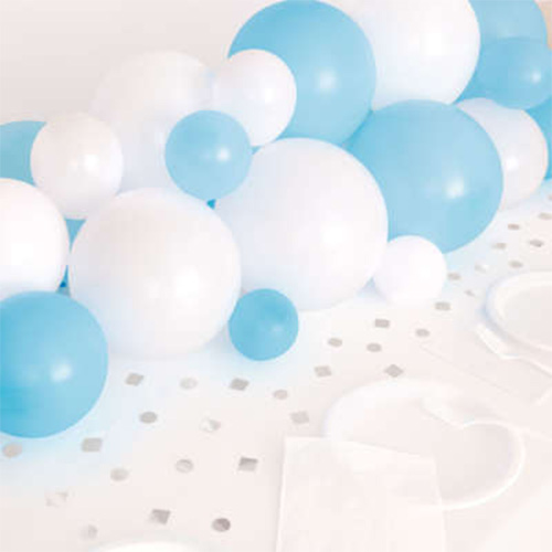 Blue White & Silver DIY Garland Balloon Arch Kit With Confetti