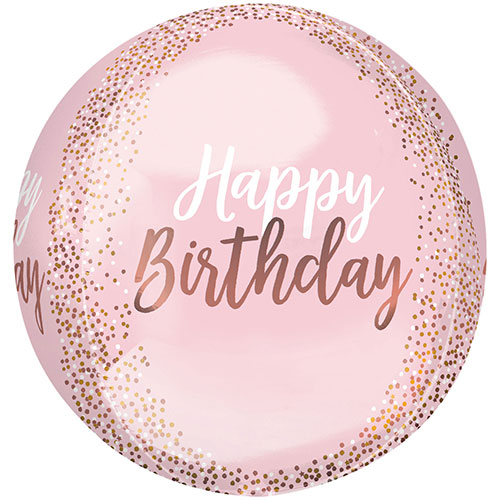 Blush Birthday Orbz Foil Helium Balloon 38cm / 15 in Product Image