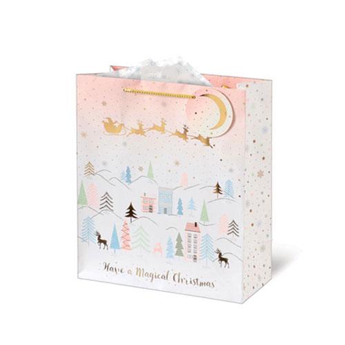 Metallic Blush Landscape Christmas Medium Gift Bag 26cm