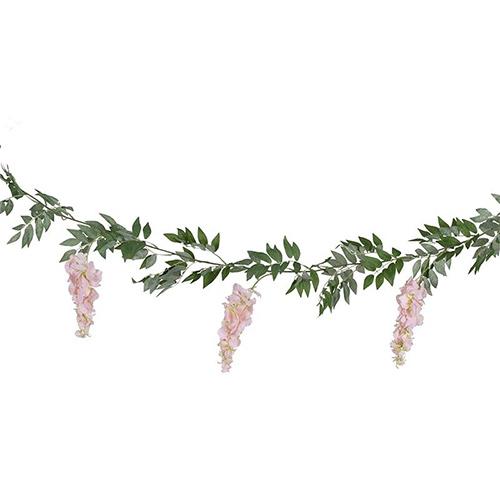 Blush Pink & Green Wisteria Foliage Garland 180cm Product Image