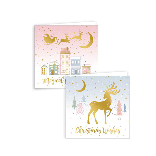 Assorted Metallic Blush Scene Christmas Cards with Envelopes 15cm - Pack of 12 Product Image