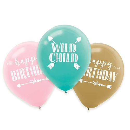 Boho Birthday Girl Assorted Latex Balloons 28cm / 11 in - Pack of 6