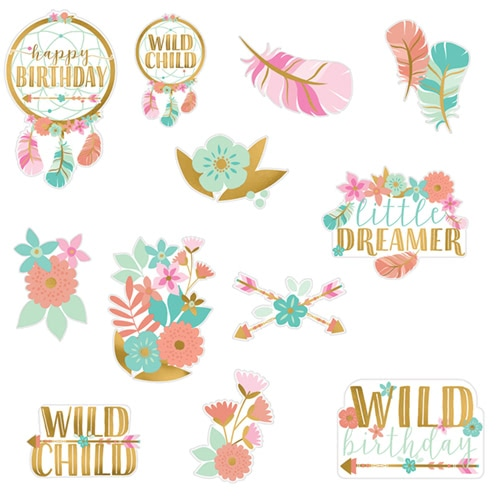 Boho Birthday Girl Cardboard Cutouts Decorations - Pack of 12