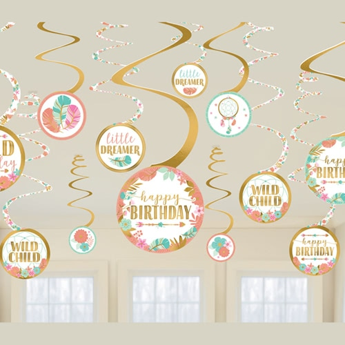 Boho Birthday Girl Hanging Swirl Decorations - Pack of 12