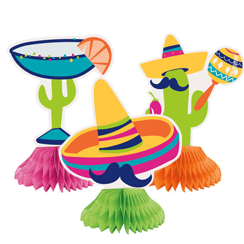 Boho Fiesta Mini Honeycomb Centrepieces Table Decorations - Pack of 3 Product Image