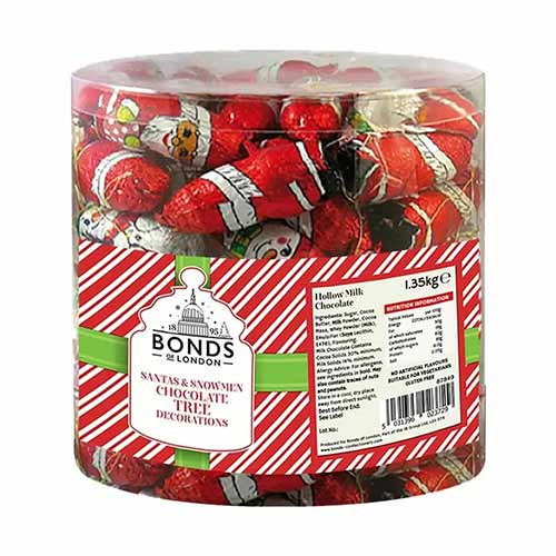 Bonds Santa & Snowman Christmas Chocolate Tree Decorations Drum Vegetarian Sweets - Pack of 100 Product Image