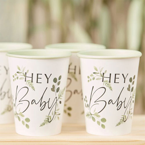 Botanical Hey Baby Paper Cups 270ml - Pack of 8 Product Image