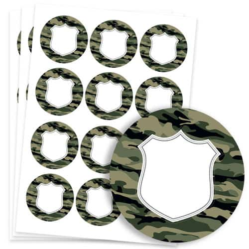 Army Design 60mm Round Sticker sheet of 12 Product Image
