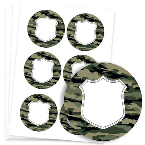 Army Design 95mm Round Sticker sheet of 6 Product Image