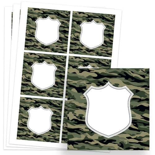 Army Design 80mm Square Sticker sheet of 6 Product Image