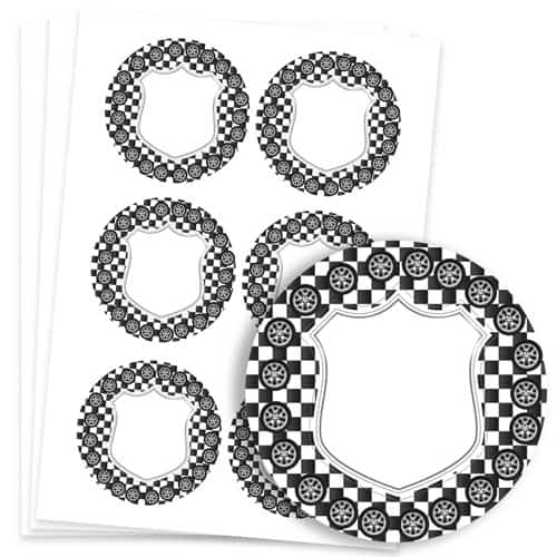 Cars Design 95mm Round Sticker sheet of 6 Product Image