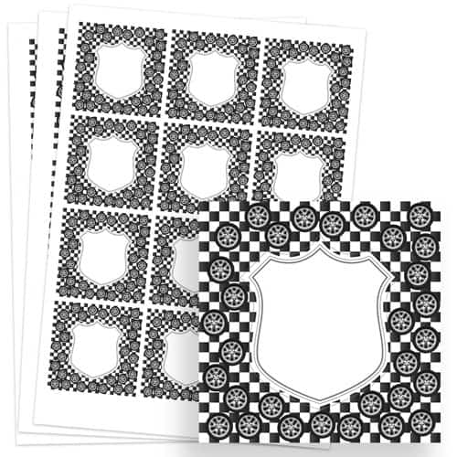 Cars Design 65mm Square Sticker sheet of 12 Product Image