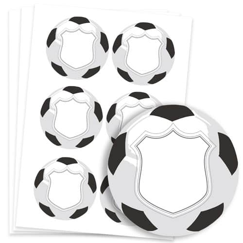 Football Design 95mm Round Sticker sheet of 6 Product Image