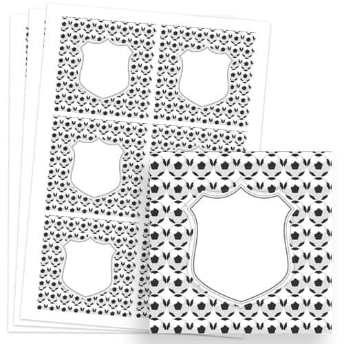 Football Design 80mm Square Sticker sheet of 6 Product Image