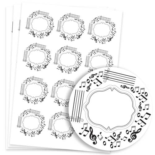 Music Design 60mm Round Sticker sheet of 12 Product Image