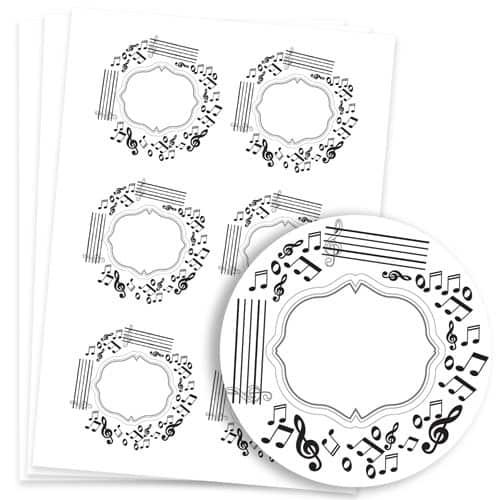 Music Design 95mm Round Sticker sheet of 6