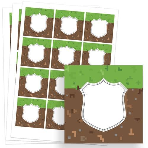 Pixels Design 65mm Square Sticker sheet of 12