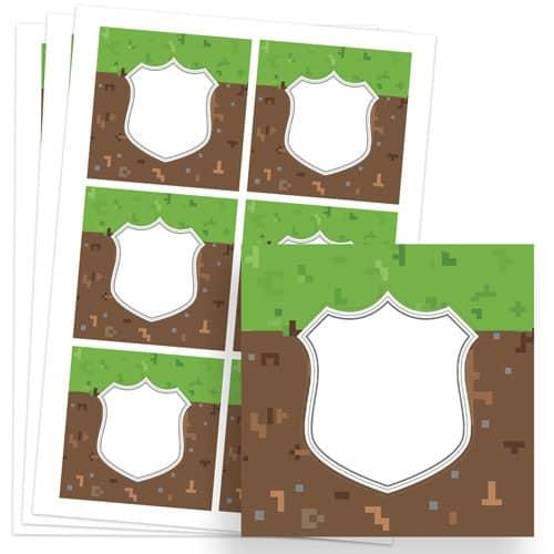 Pixels Design 80mm Square Sticker sheet of 6