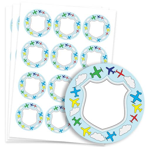 Planes Design 60mm Round Sticker sheet of 12 Product Image