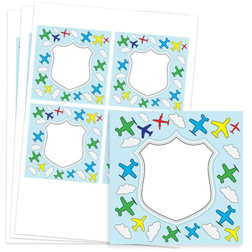Planes Design 95mm Square Sticker sheet of 4 Product Image