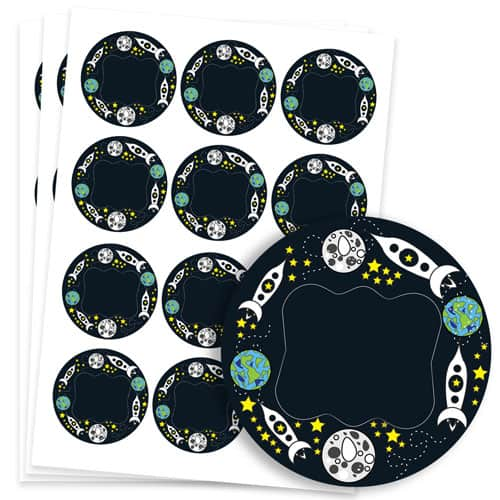 Space Design 60mm Round Sticker sheet of 12 Product Image