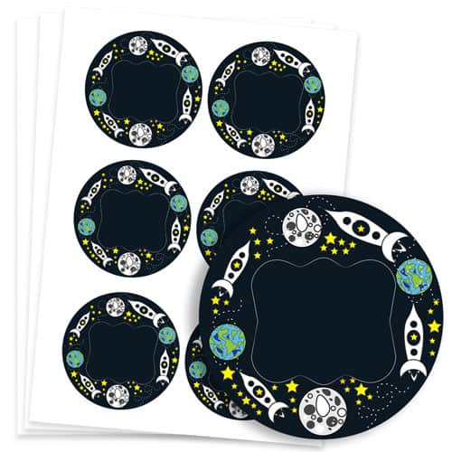 Space Design 95mm Round Sticker sheet of 6 Product Image
